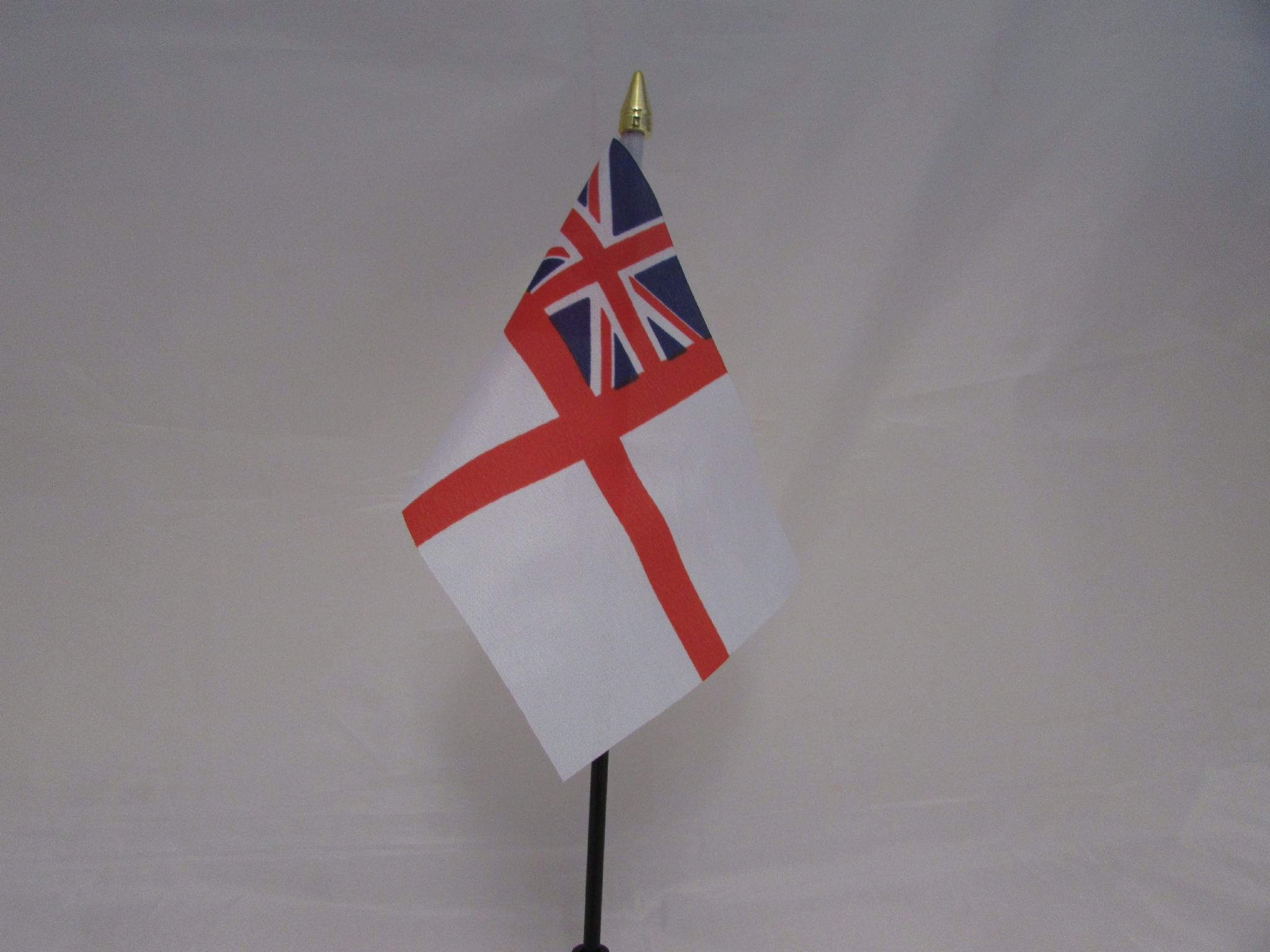 White Ensign Table Flag Plastic Polyester Gold Base 27cm Tall